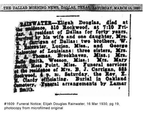 Rainwater Genealogy: Obituaries A-K and Profiles