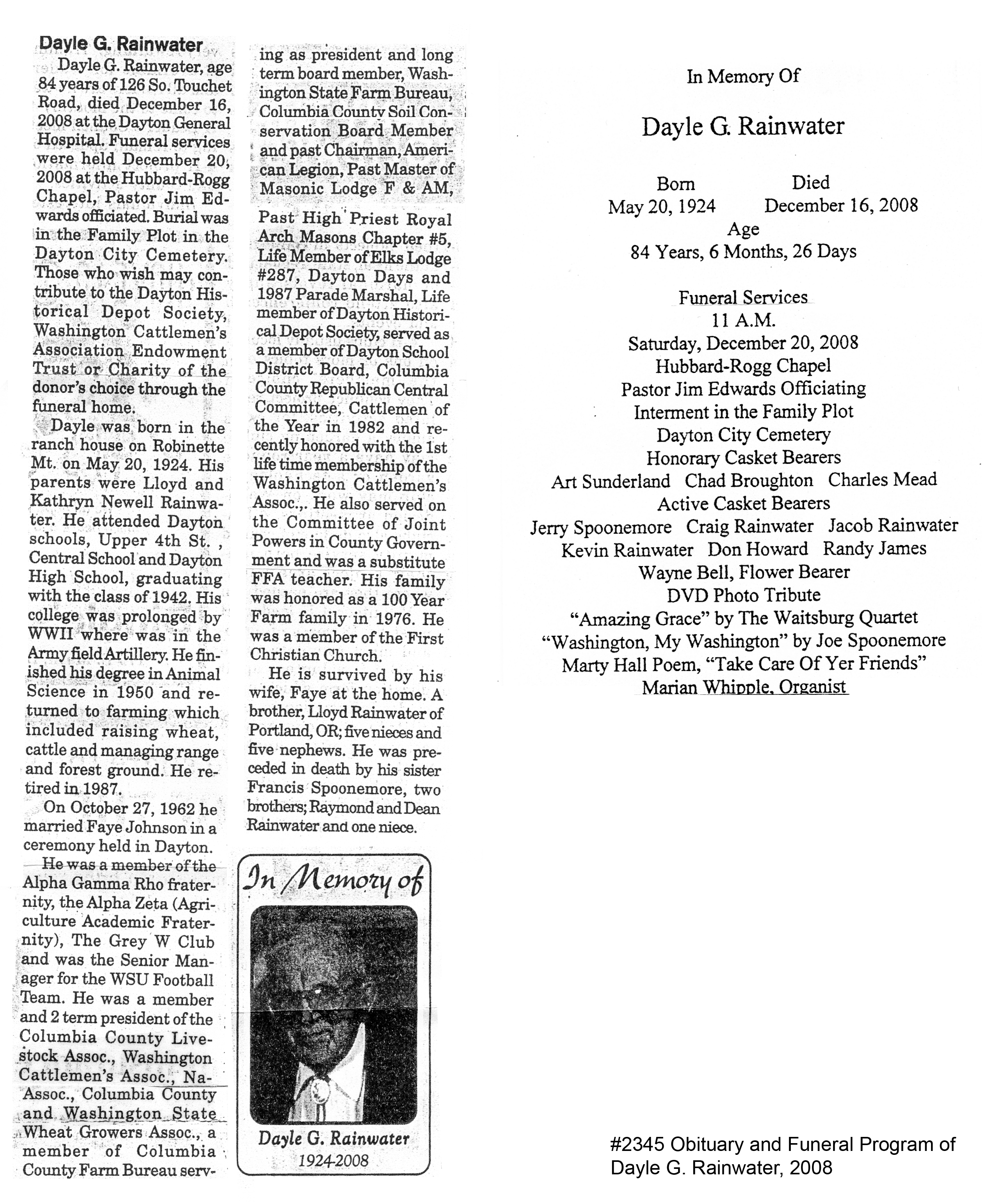 ... Obituary and funeral program; Dayle G. Rainwater, ...