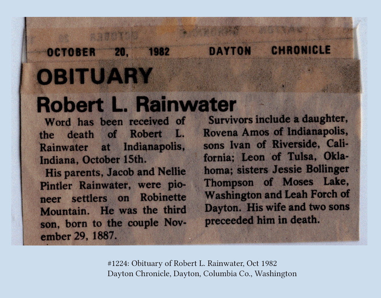 Rainwater Genealogy Source Documents