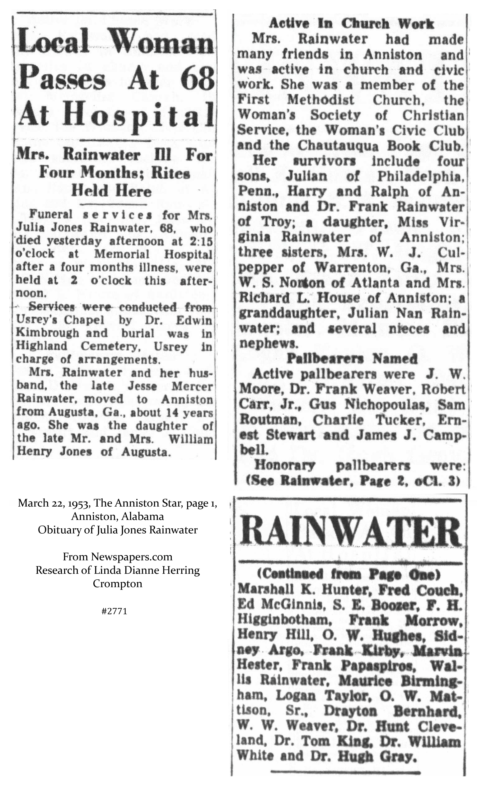 Rainwater Genealogy: Death & Murder and Scanned Obituaries